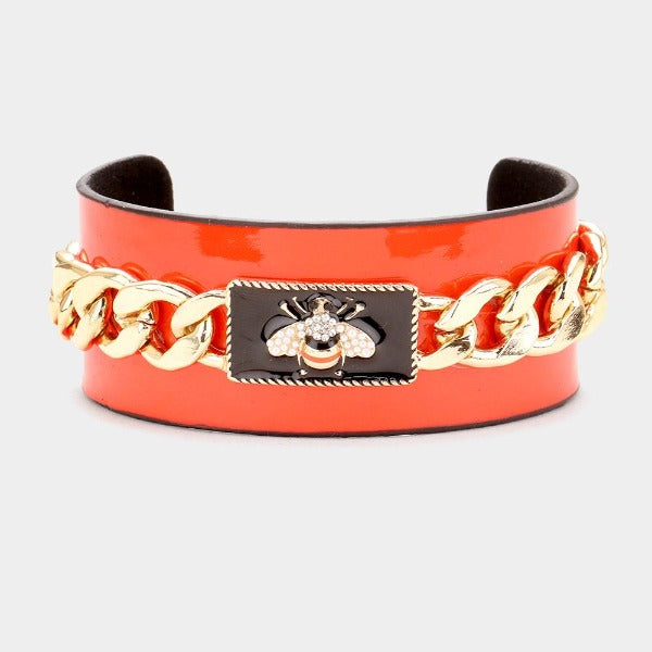 Pearl Honey Bee Red Metal Chain Cuff Bracelet