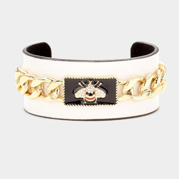 Pearl Honey Bee White Metal Chain Cuff Bracelet
