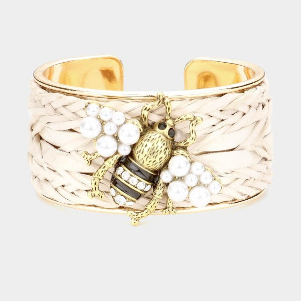 Pearl Honey Bee Accented Braided Detail Cuff Bracelet