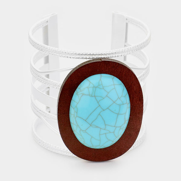 Oval Turquoise Wood Accented Cage Cuff Bracelet