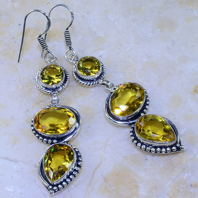 YELLOW CITRINE .925 SILVER PLATED EARRINGS 2 3/4