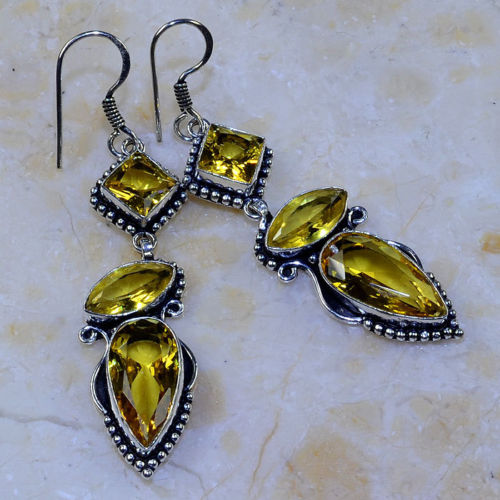 "YELLOW CITRINE 2 3/4"" ORNATE SILVER PLATED DANGLE EARRINGS"