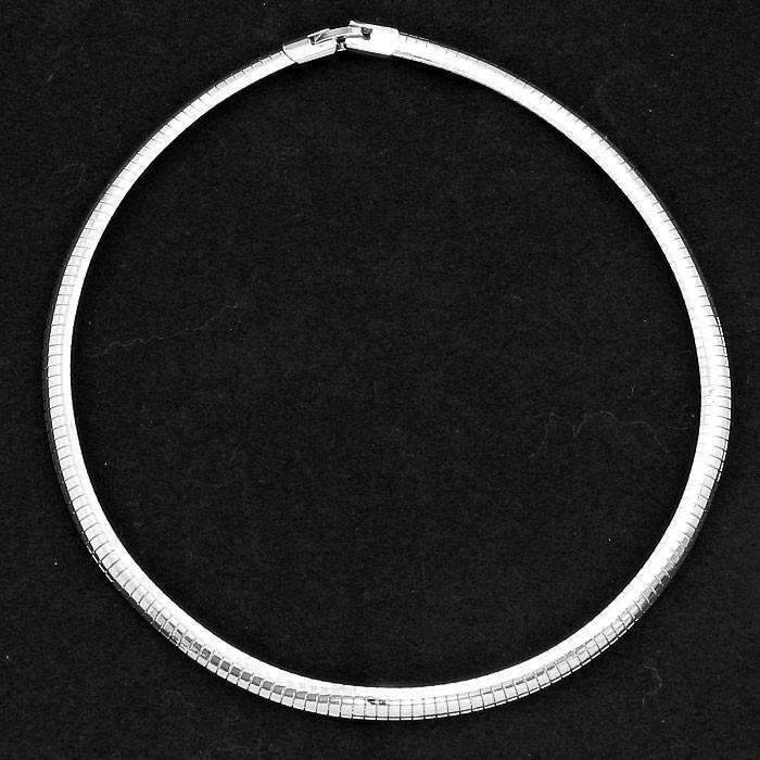 "Silver 16"" Metal Omega 1/4"" Choker Necklace"