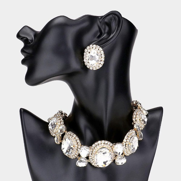 Oval Stone Accented Evening Choker Necklace Set