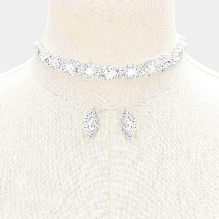 "Rhinestone Trim Glass Crystal 14"" + 4"" Extender Choker Evening Necklace & Earring Set"