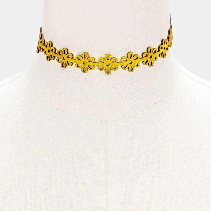 Yellow & Gold Flower Cut-Out Suede Choker Necklace