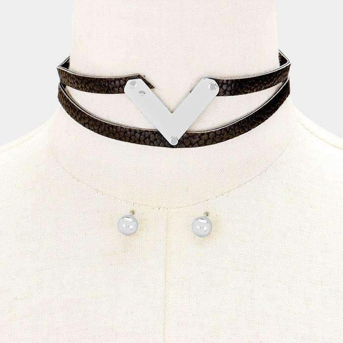 "Black Metal ""V"" Double Tier Faux Leather Choker Necklace & Earring Set"