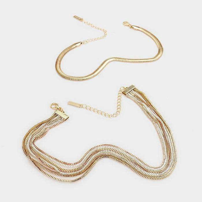 7 Layered Box Chain & Snake Chain Choker Necklace & Earrings Set