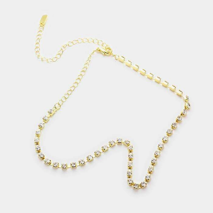 Clear Rhinestone Gold 3 mm Choker Necklace & Earring Set