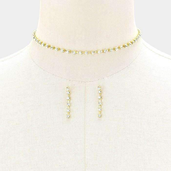 "Clear Rhinestone 14"" + 4"" Extender Gold 3 mm Choker Evening Necklace & Earring Set"