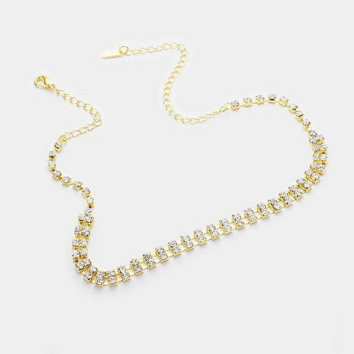 "2-Row Clear Rhinestone 14"" + 3"" Extender Gold Choker Evening Necklace & Earring Set"