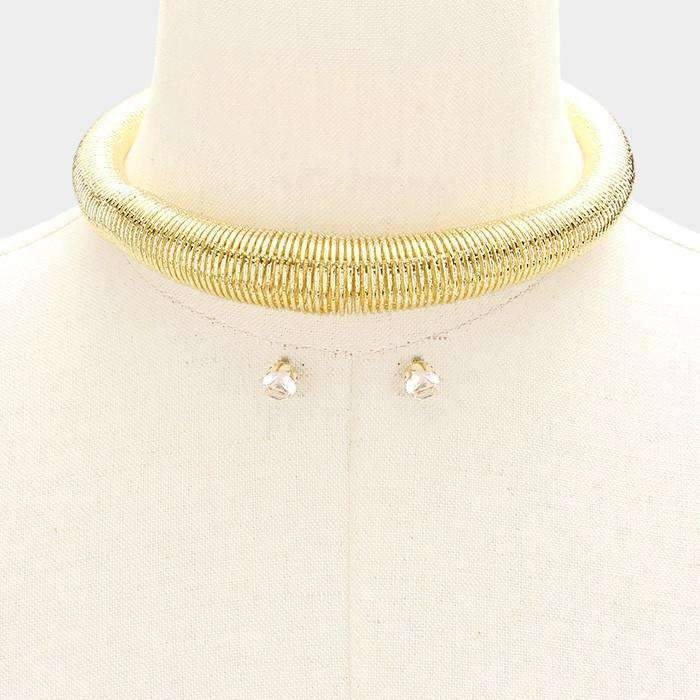 "Gold Metal Spring Coil 14"" + 3"" Extender Choker Necklace & Earring Set"