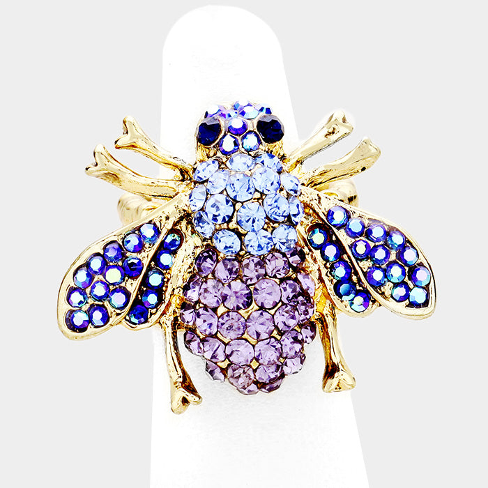 Honey Bee Blue Crystal Stretch Ring