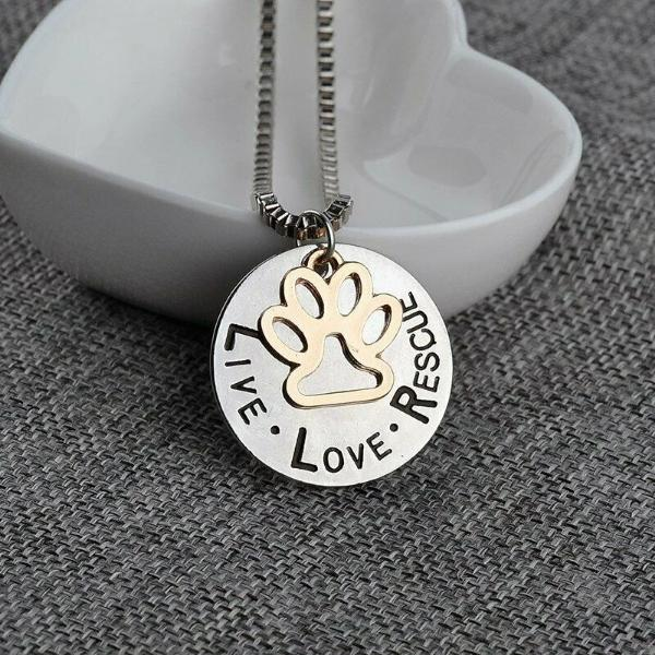 Live Love Rescue Paw Print Two Tone Necklace