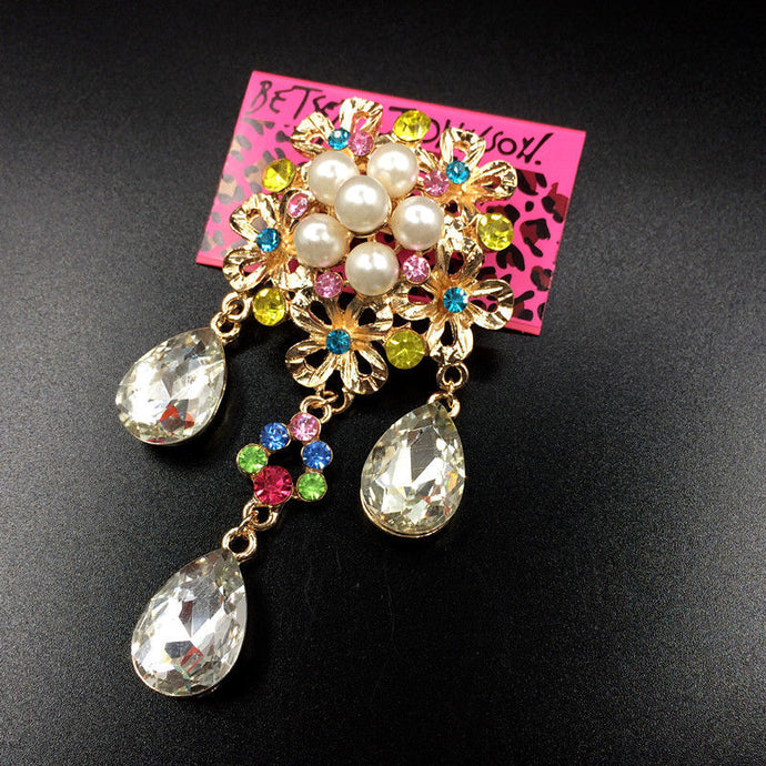Betsey Johnson Colorful Multi-Color Crystal Drop Flower Brooch Pin
