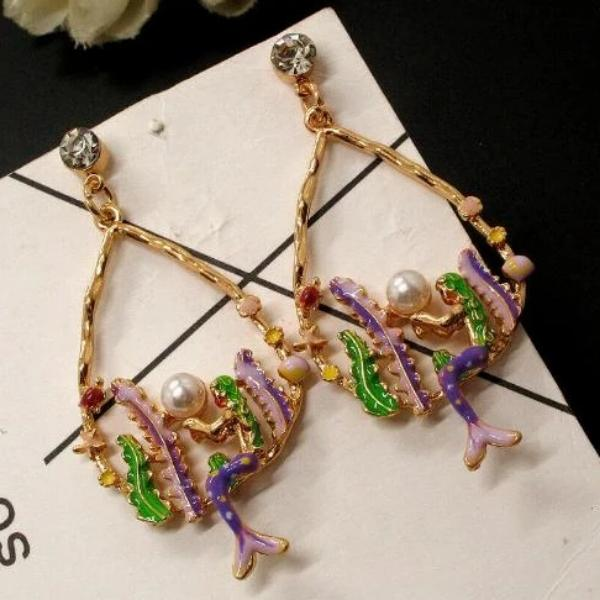 Betsey Johnson Mermaid Holding Faux Pearl Earrings