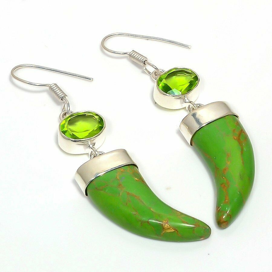 Green Turquoise Gemstone Handmade Silver Plated Earrings