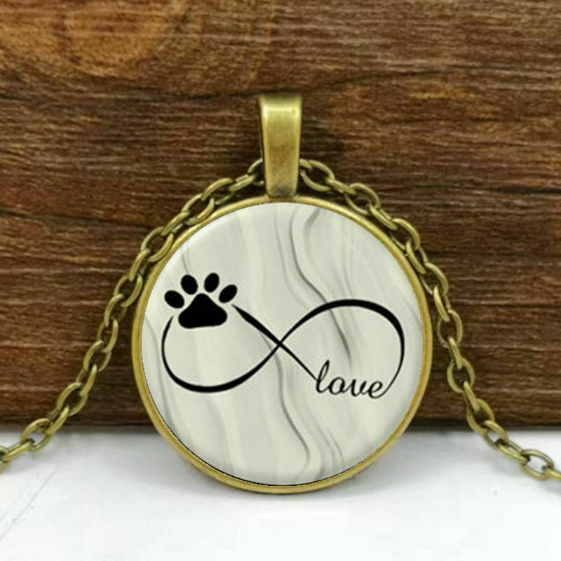 Dog Paw Round Cabochon Glass Brass Chain Necklace