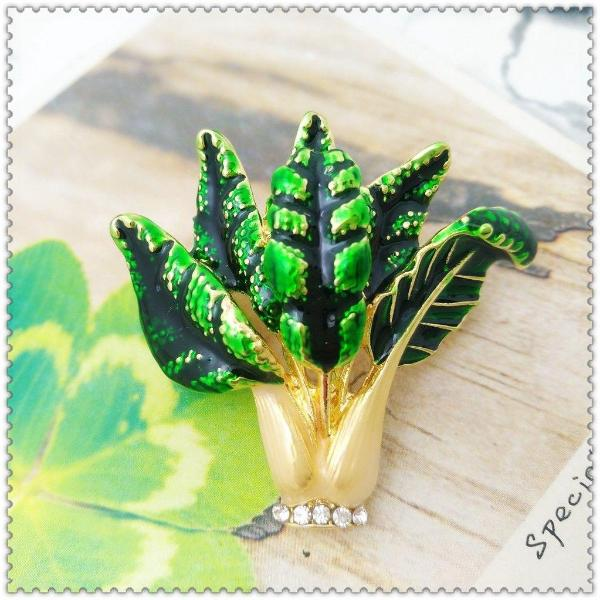 Green Cabbage with Crystals Brooch Pin