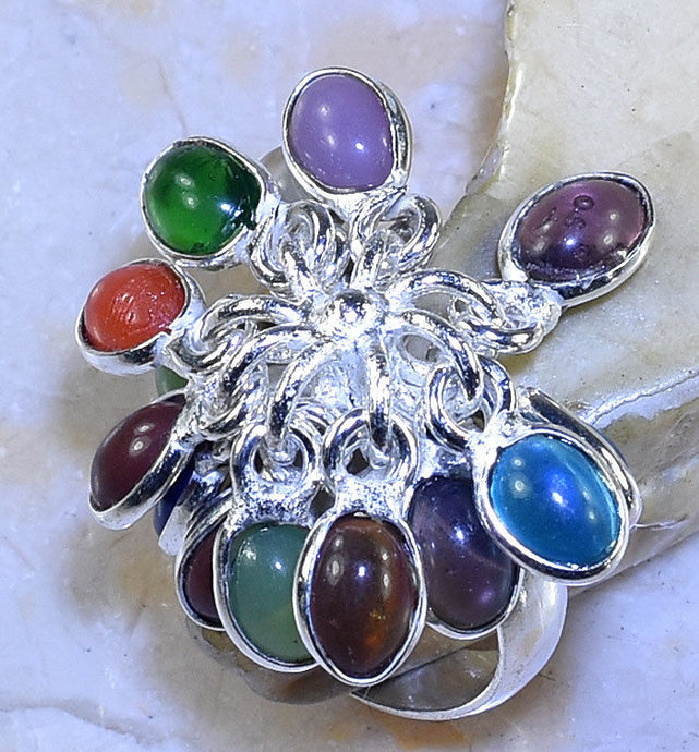 MULTI-COLORED STONE HANDMADE .925 SILVER PLATED DANGLE RING SIZE 7.75