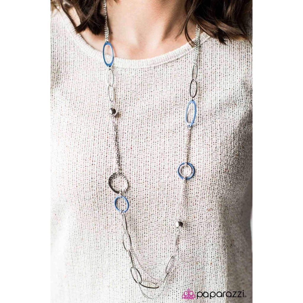 """DISC Factor"" Chunky Asymmetrical Blue, Silver Necklace & Earring Set"