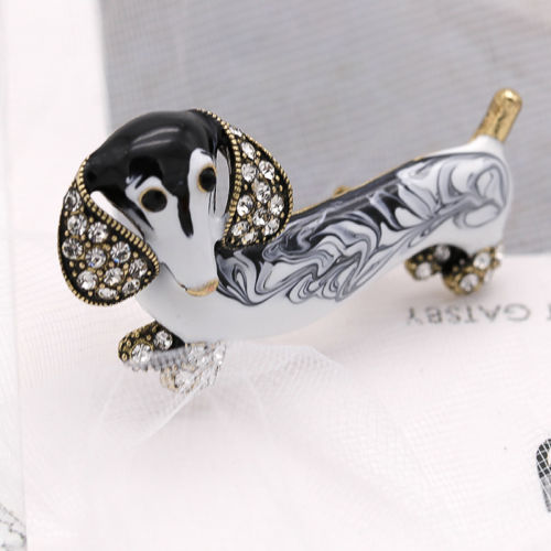 Dachshund Dog Black Grey Enamel Rhinestone Gold Brooch Pin