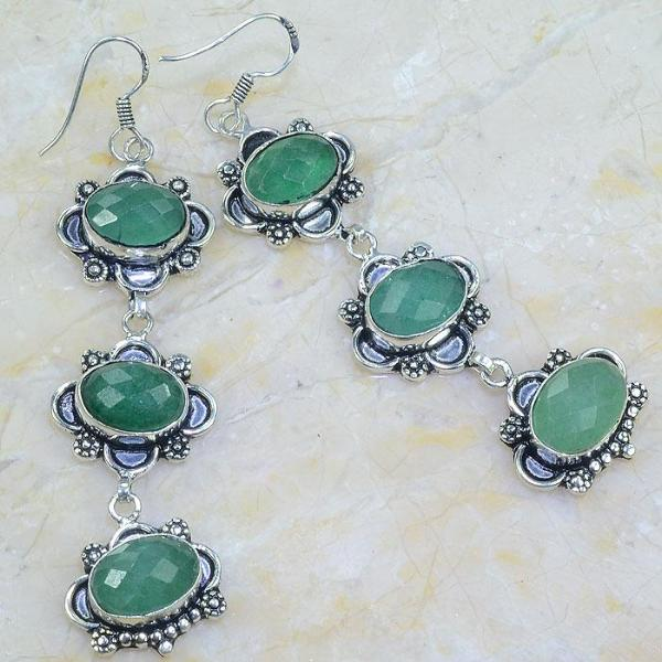 EMERALD NATURAL STONE .925 SILVER PLATED EARRINGS 3 3/4