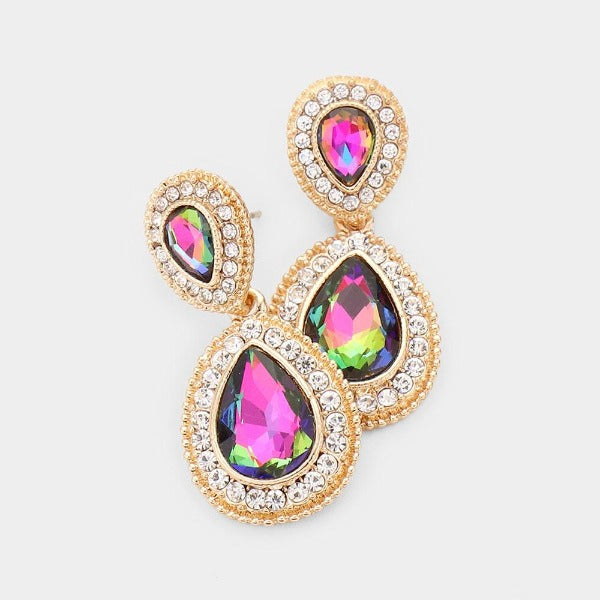 Rainbow Crystal Pave Gold Earrings