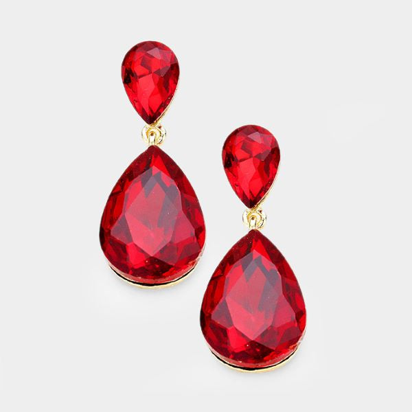 Red Crystal Double Teardrop Dangle Earrings