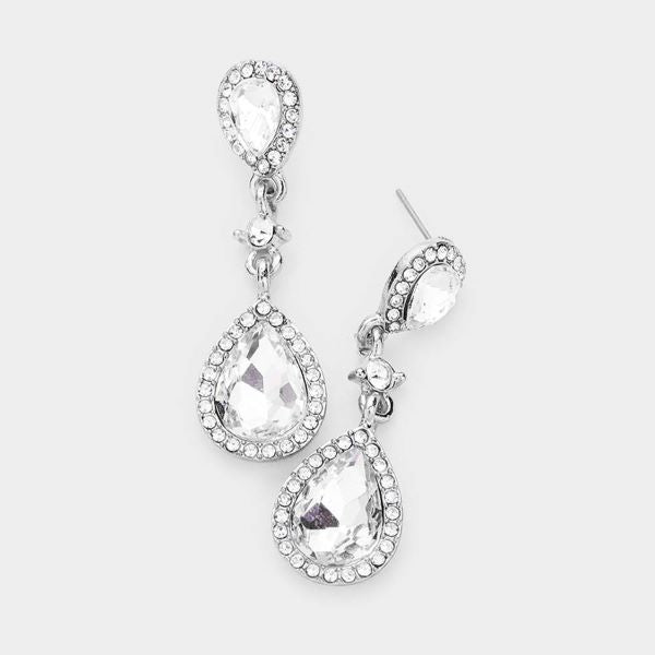 Miro Clear Pear Crystal Silver Evening Earrings