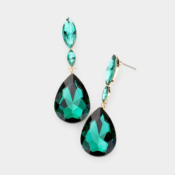 Emerald Green Crystal Teardrop Dangle Pierced Earrings