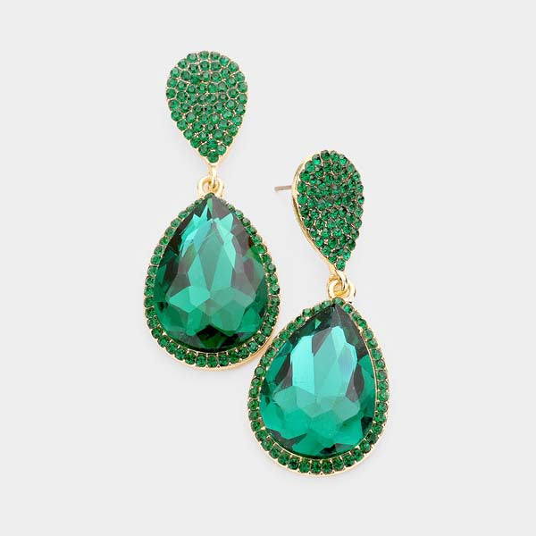 Emerald Green Crystal Double Teardrop Dangle Pierced Earrings