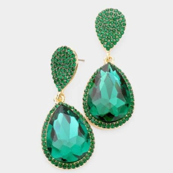 Emerald Green Crystal Double Teardrop Earrings