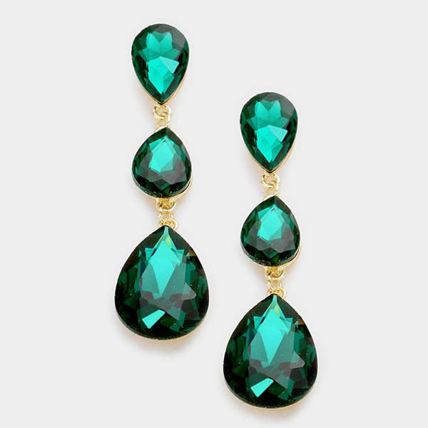 Emerald Green Crystal Triple Teardrop Dangle Pierced Earrings