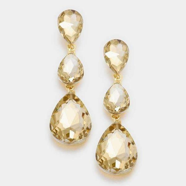 Champagne Triple Crystal Teardrop Evening Earrings