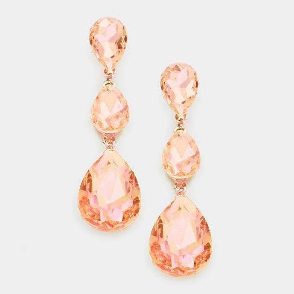 Peach & Rose Gold Triple Crystal Teardrop Evening Earrings