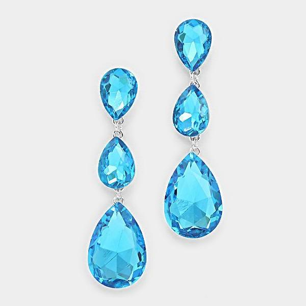 Aqua Blue Rhodium Triple Crystal Teardrop Silver Evening Earrings