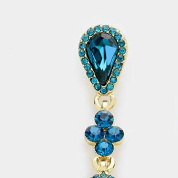 Blue Zircon Marquise Crystal Gold Evening Bridal Prom Earrings