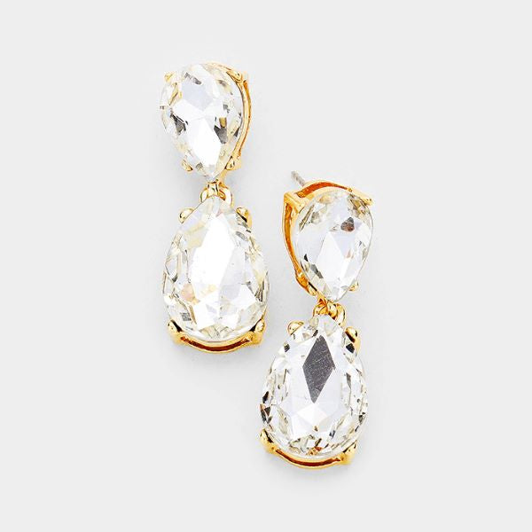 Clear Crystal Double Teardrop Gold Earrings