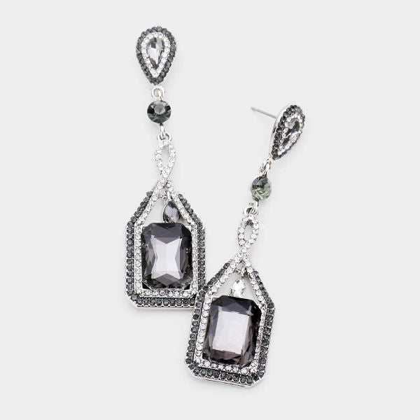 Black Crystal Rectangle Rhinestone Trim Earrings by O Global