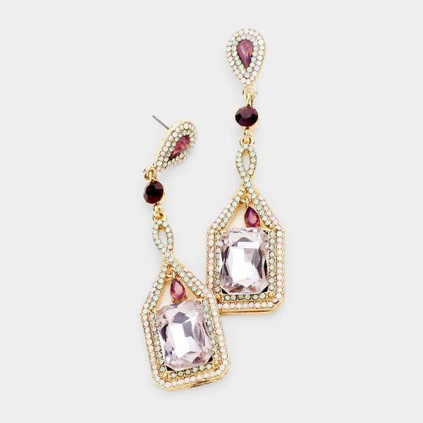 Purple Crystal Rectangle Rhinestone Trim Gold Evening Earrings