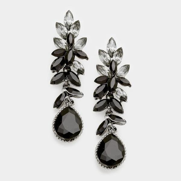 Black Crystal Marquise Teardrop Evening Dangle Earrings