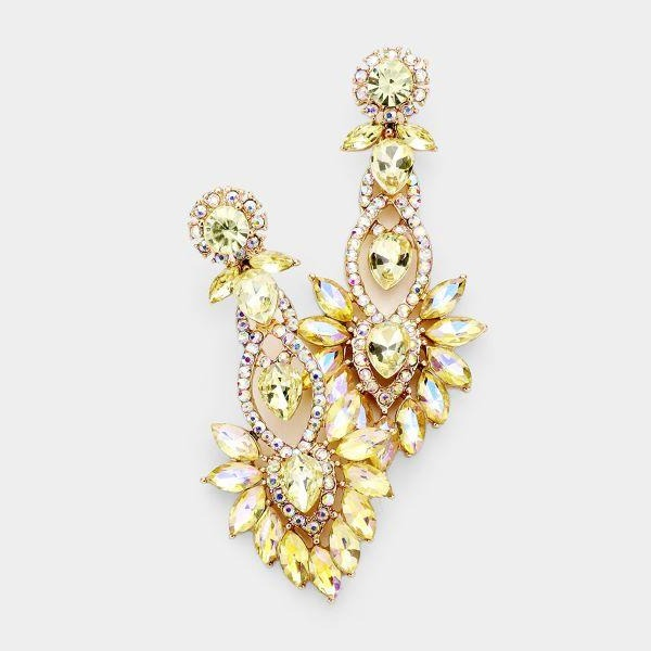 Yellow Marquise Crystal Earrings