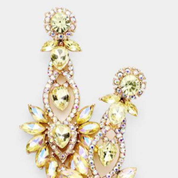 Yellow Floral Marquise Crystal Detail Evening Earrings
