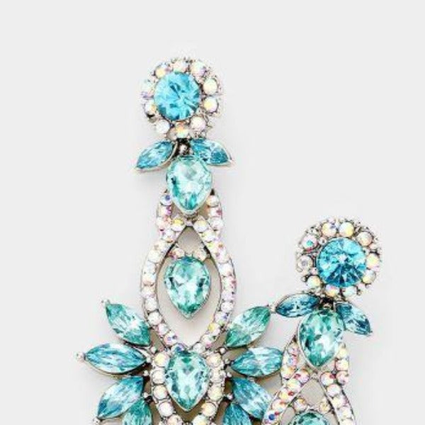 Blue Floral Marquise Crystal Detail Evening Earrings