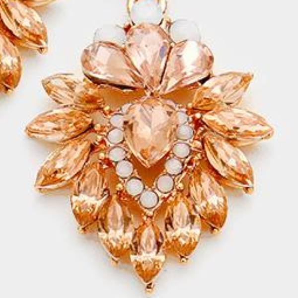 Peach & Rose Gold Ornate Evening Earrings