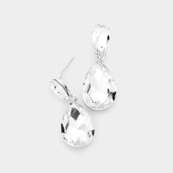 Clear Crystal Teardrop Silver Earrings
