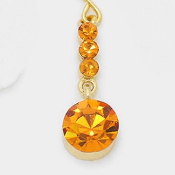 Orange Crystal Gold Evening Dangle Earrings