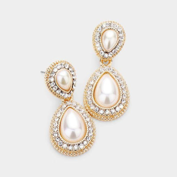 Pearl Teardrop Rhinestone Pave Earrings