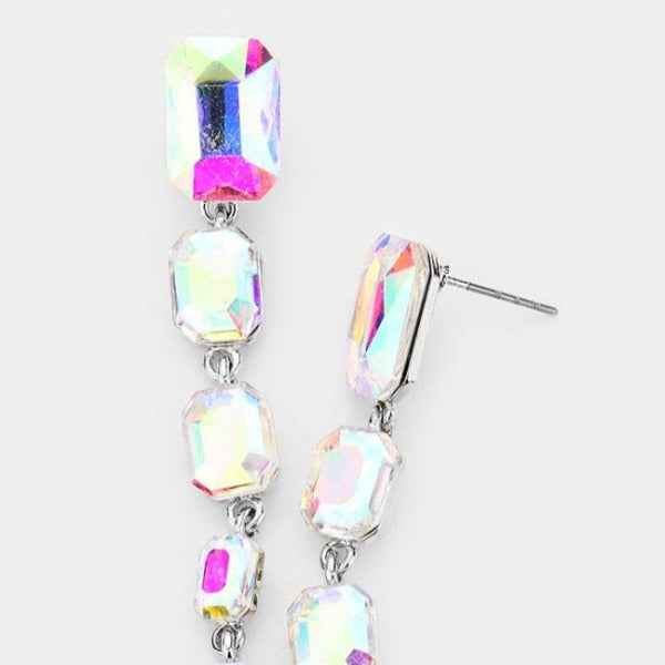 Abalone Rectangle Crystal Link Evening Earrings